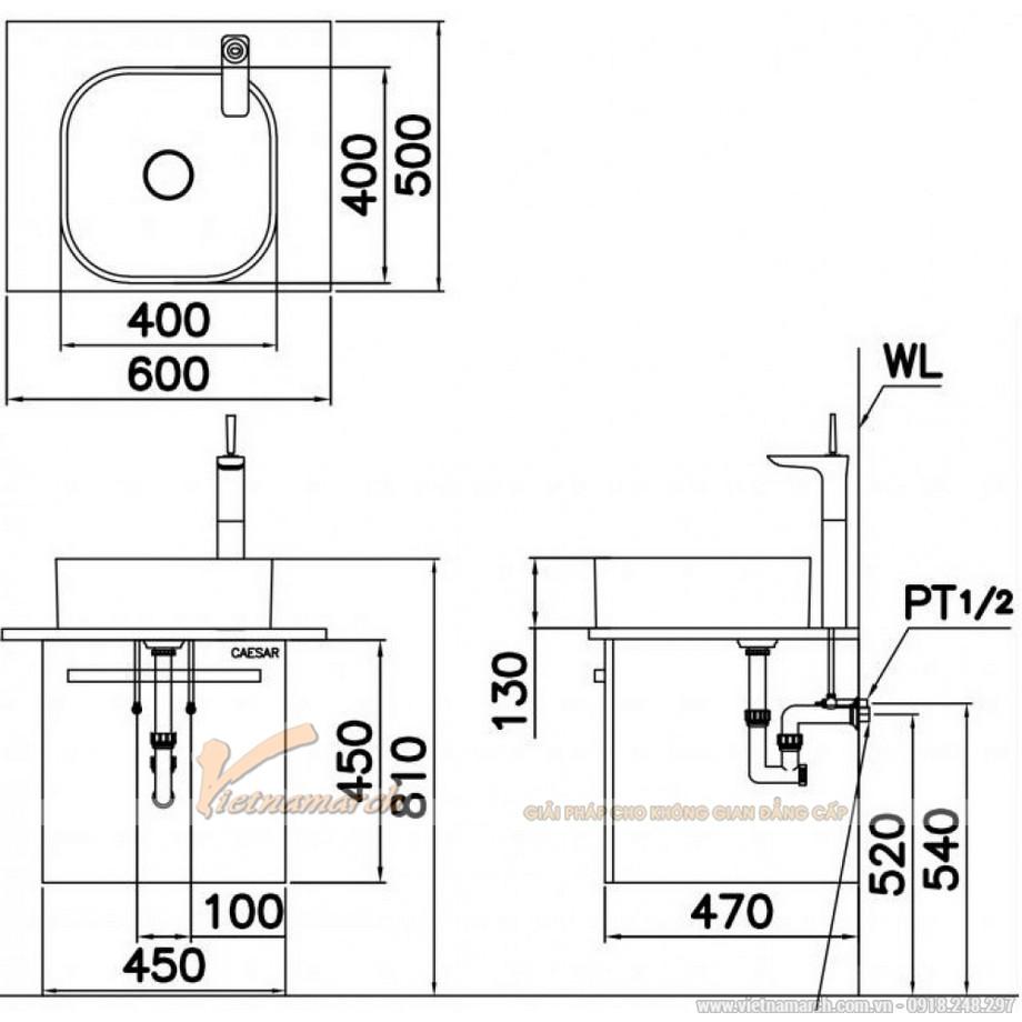 Kích thước Lavabo Đặt Bàn CAESAR LF5256 Nắp Sứ