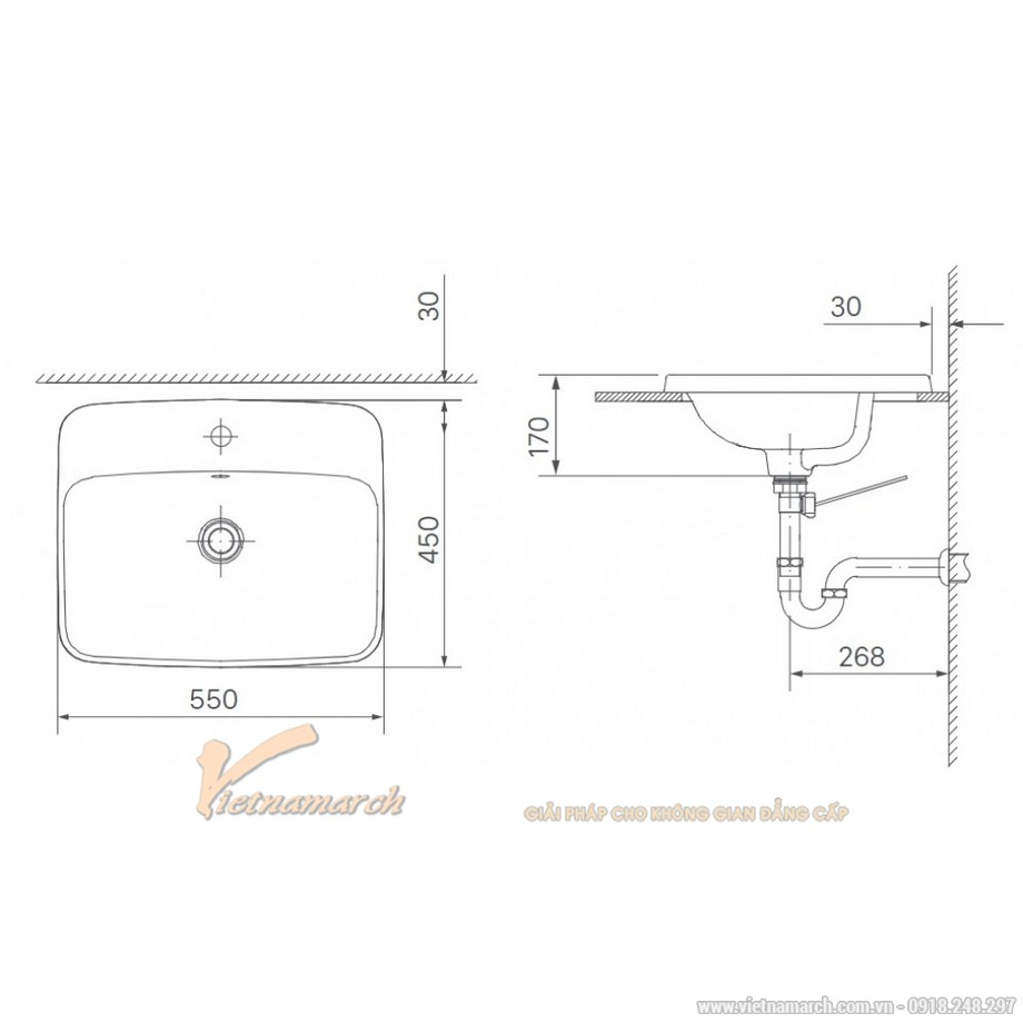 Kích thước lavabo Inax AL-2398V âm bàn dương vành