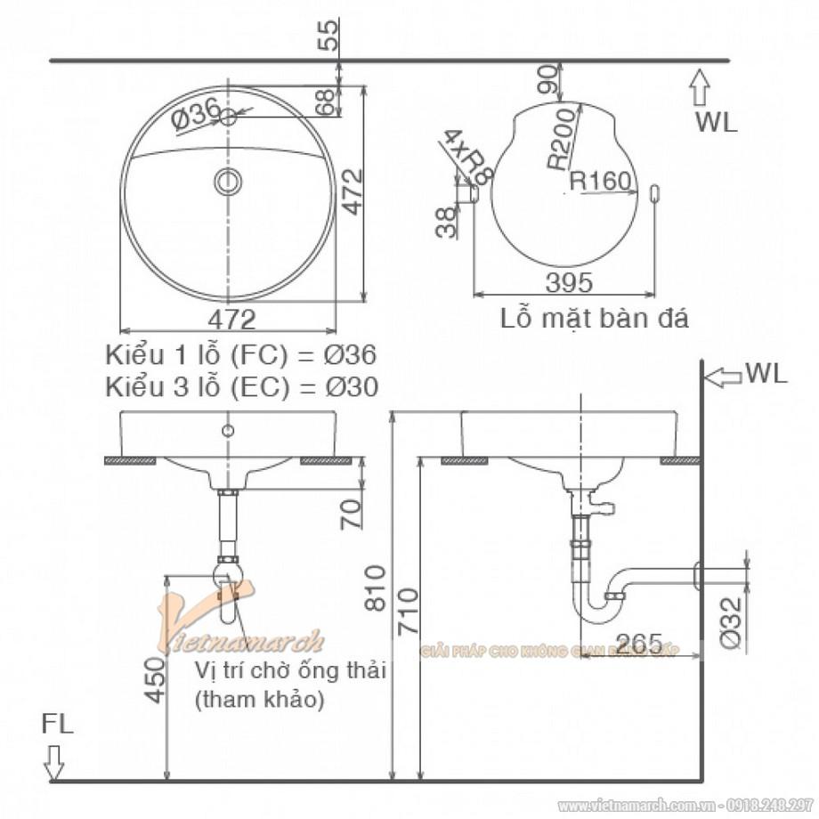 Kích thước lavabo Inax L-294V (AL-294V)đặt bàn tròn