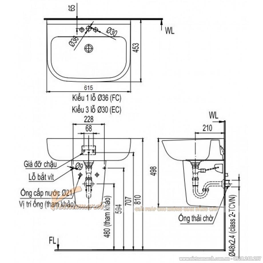 Kích thước lavabo Inax L-298V/L-298VC treo tường