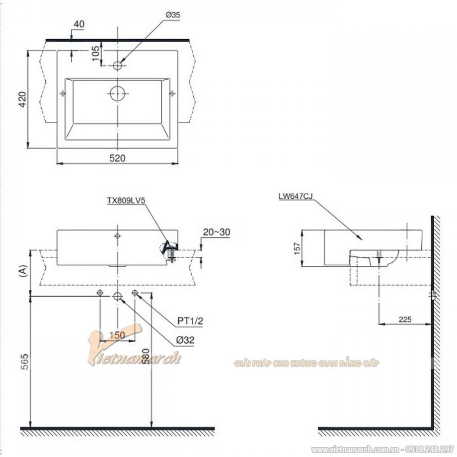 Kích thước lavabo TOTO LW647CJW/F bán âm bàn (ngàm vào mặt bàn)