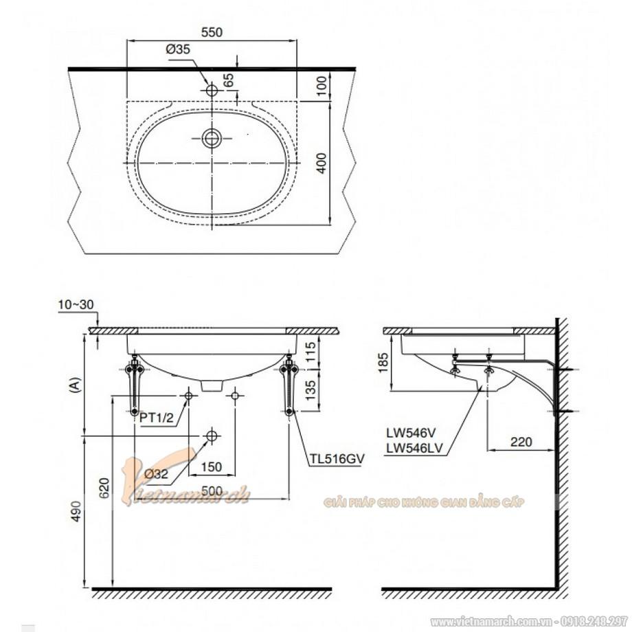 Kích thước Lavabo TOTO LT546 Âm Bàn