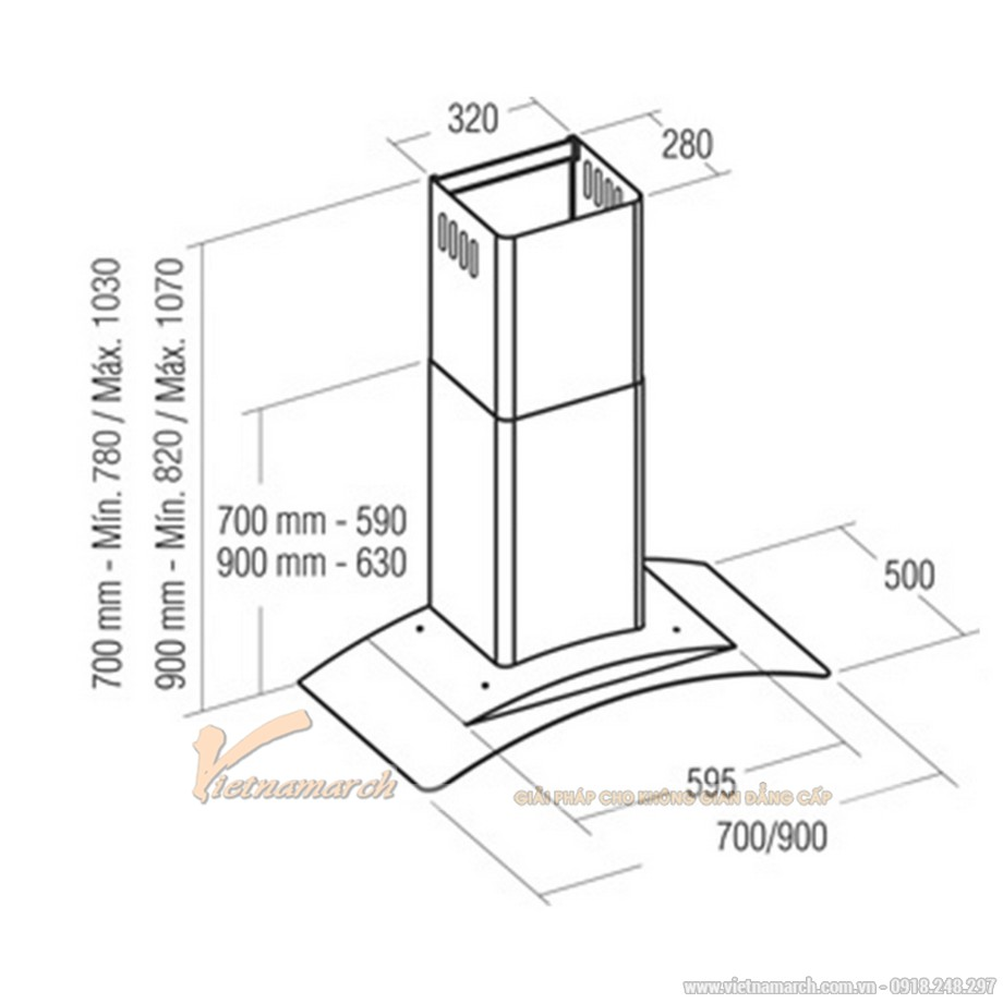 Kích thước máy hút mùi Cata Kyros 900 kính cong