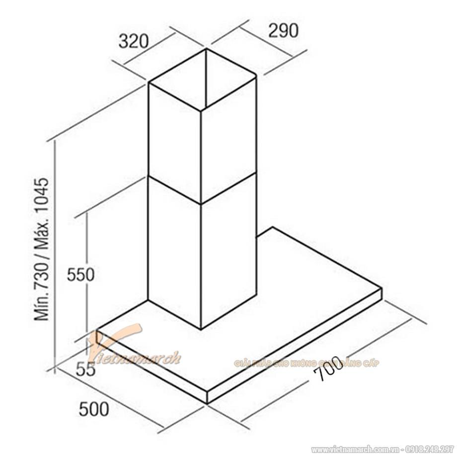 Kích thước máy hút mùi Cata Sygma 70 gắn tường