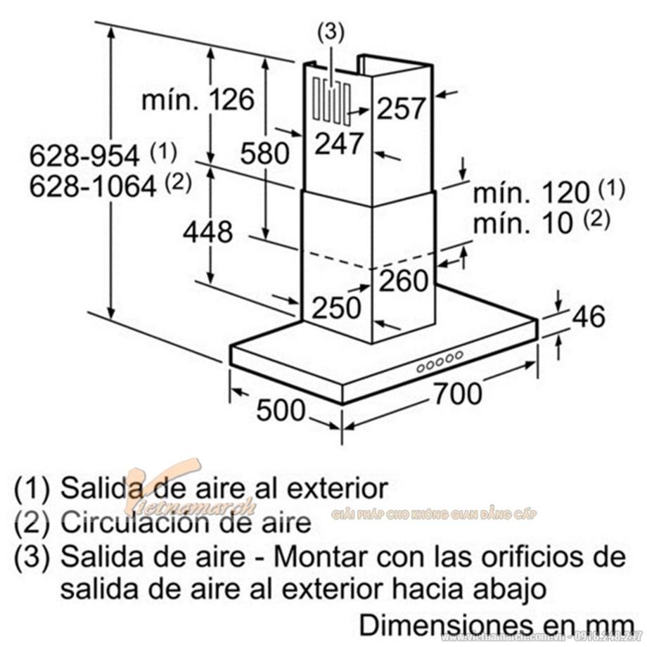 Kích thước máy hút mùi Bosch gắn tường DWB077A50