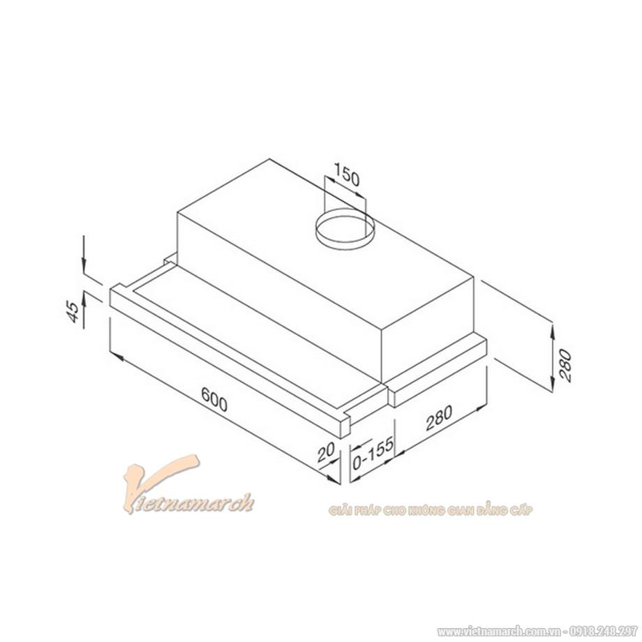 Kích thước máy hút mùi âm tủ Malloca H204.6