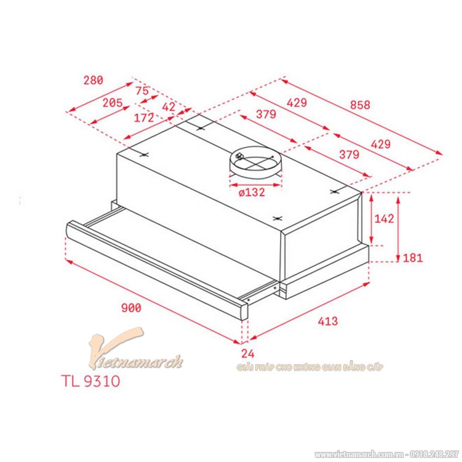 Kích thước máy hút mùi Teka TL 9310/6310âm tủ