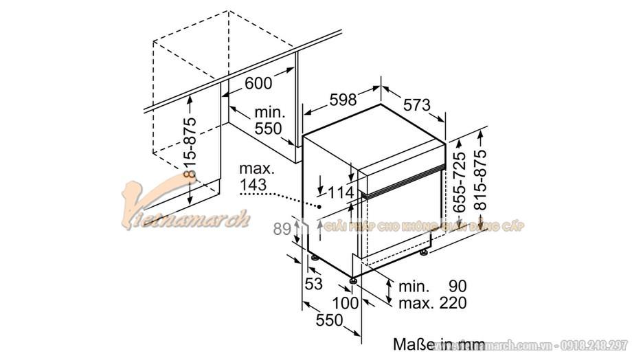 Kích thước máy rửa bát âm tủ Bosch SMI88TS36E