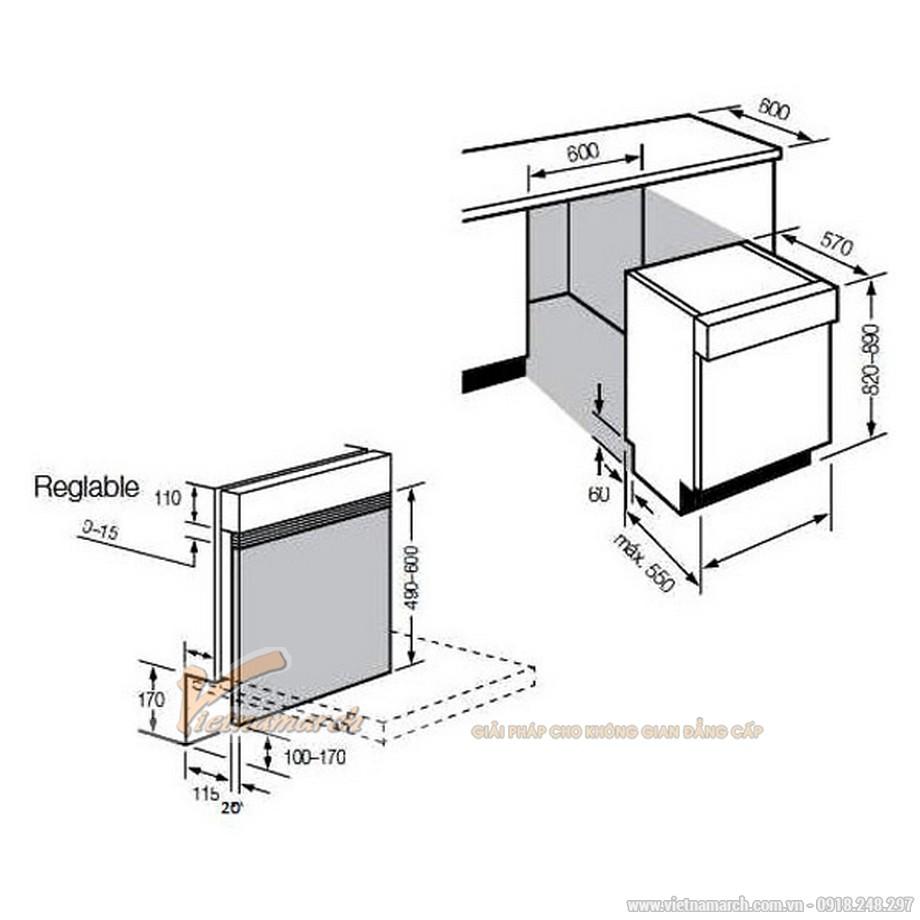Kích thước máy rửa bát Fagor LVF-17AIXâm tủ
