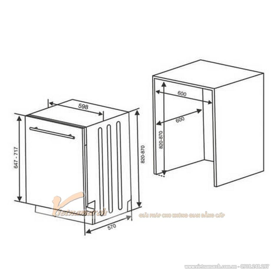 Kích thước máy rửa bát Hafele HDW FI60A 533.23.260âm tủ