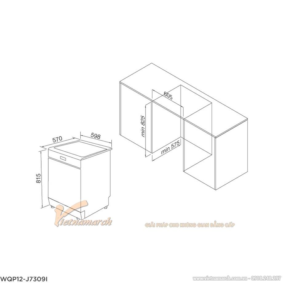 Kích thước máy rửa bát Malloca WQP12-J7309Iâm tủ