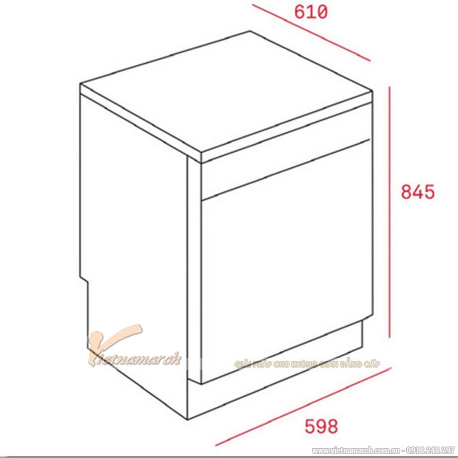Kích thước máy rửa bát Teka LP9 850 INOX độc lập
