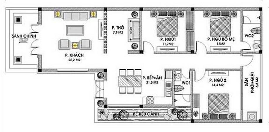 Nhà cấp 4 3 phòng ngủ 100m2