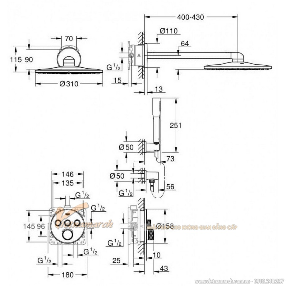 Kích thước vòi sen thông minh âm tường Grohe SmartControl Tròn 34705000