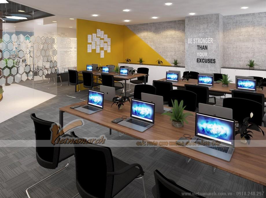 Thiết kế 3Dmax phối cảnh nội thất văn phòng Goden Net tầng 3 Dolphin 183m2