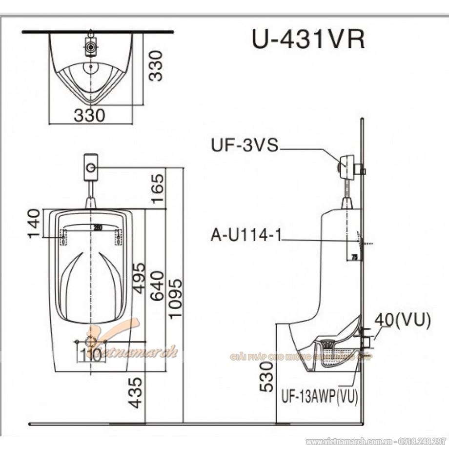 Kích thướcTiểu Nam Inax U-431VR Treo Tường Vành Rim