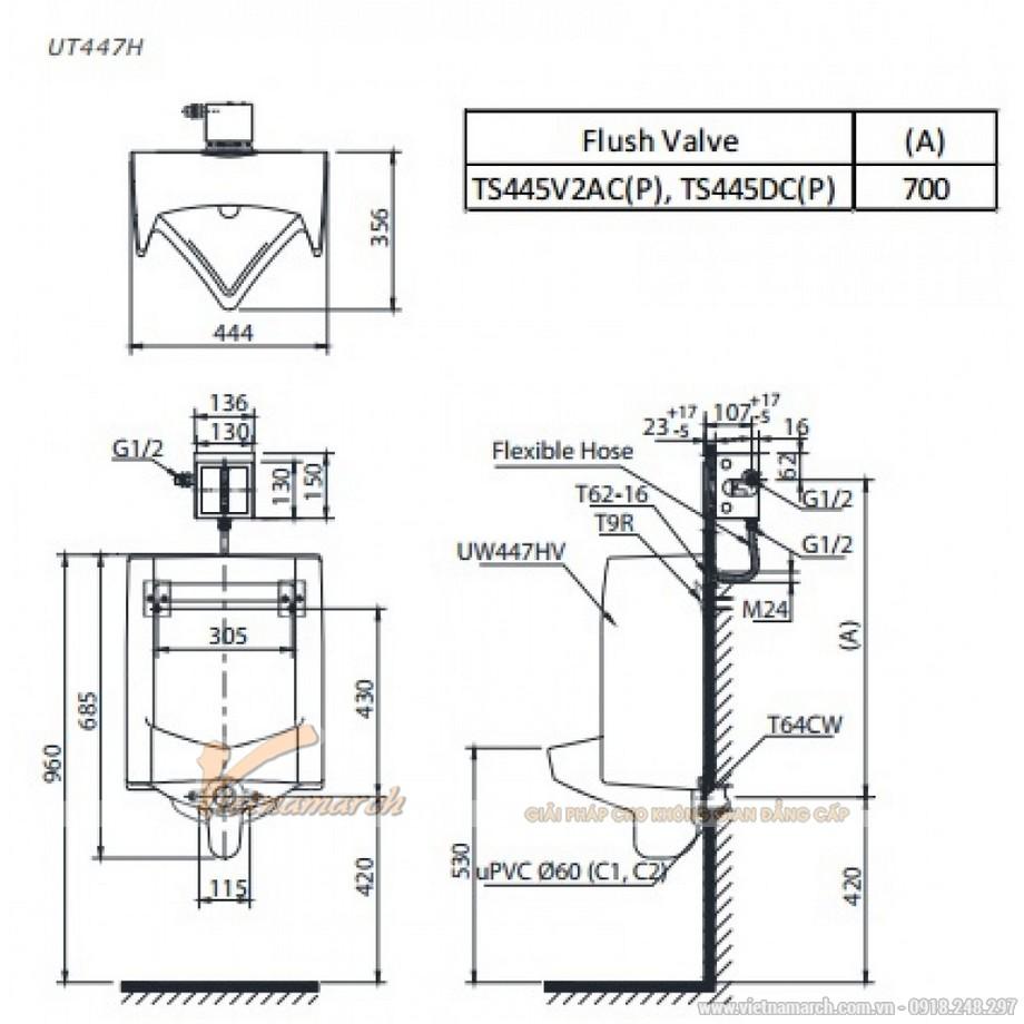 Kích thướcTiểu Nam TOTO UT447HR treo tường