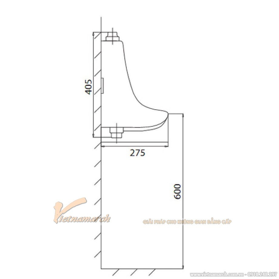 Kích thướcTiểu Nam Viglacera TT1 (BS601) Treo Tường
