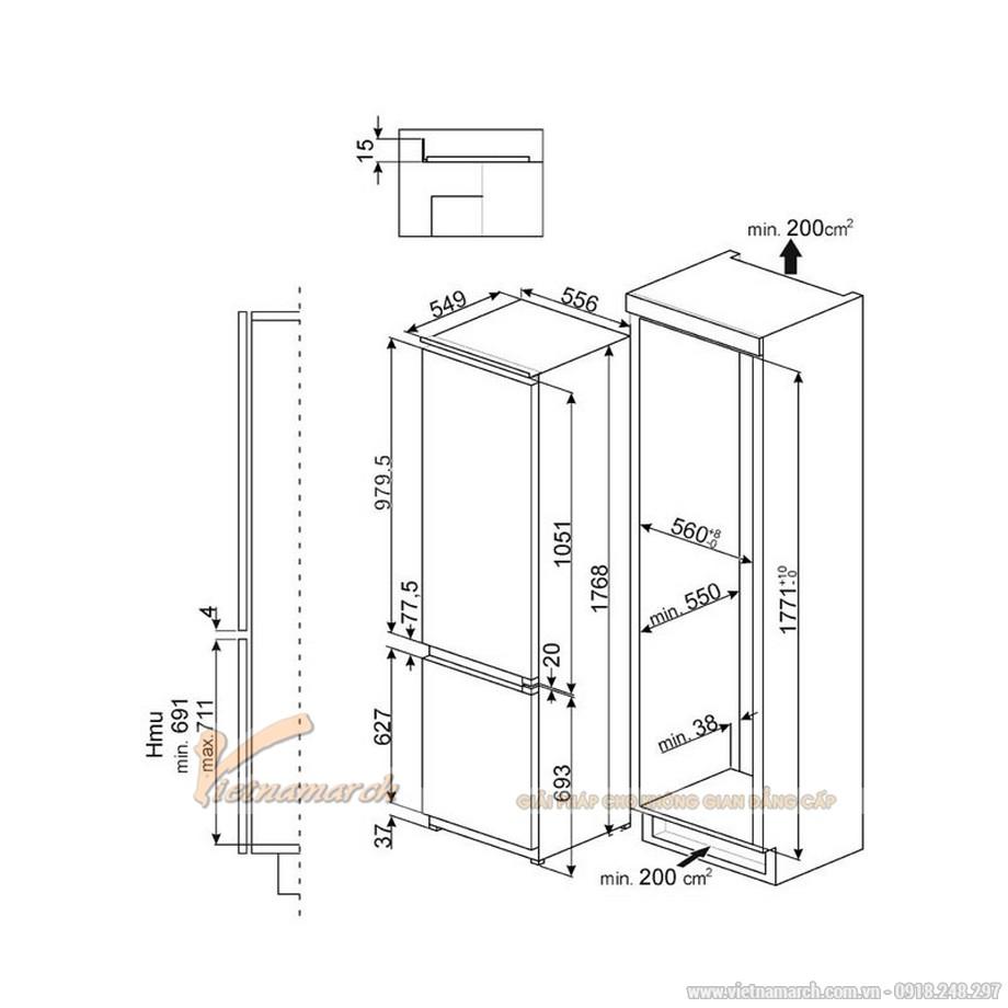 Kích thước tủ lạnh 2 cánh SMEG CD7276NLD2P1, 247 lít