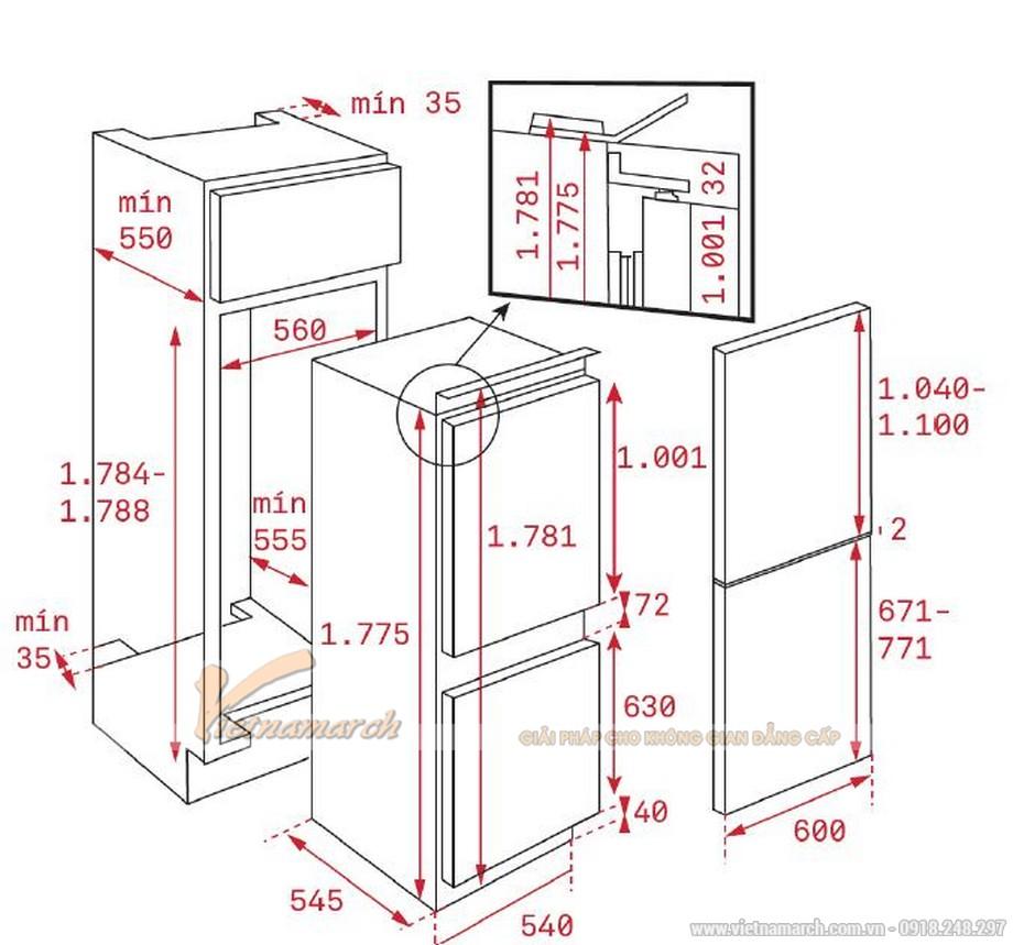 Kích thước tủ lạnh lắp âm Teka CI3 350 NF 275 lít