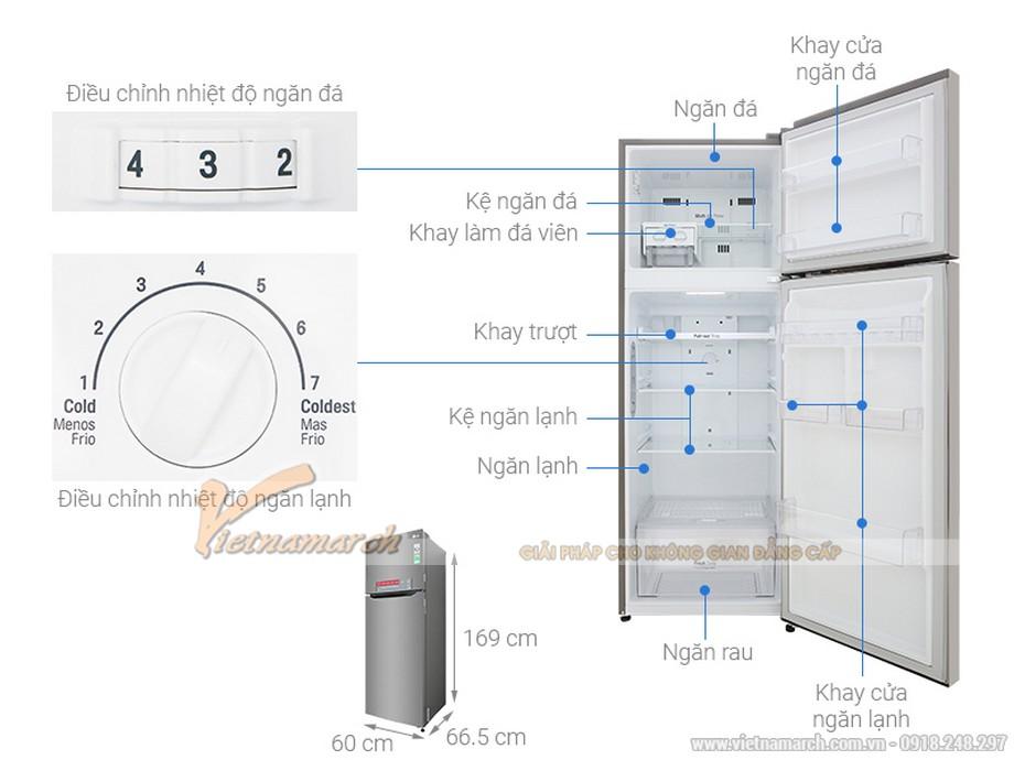 Kích thước tủ lạnh LG 2 cánh 315 lít GN-M315PS