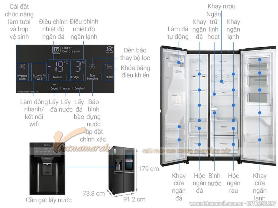 Kích thước tủ lạnh LG Side By Side 601 lít GR-X247MC
