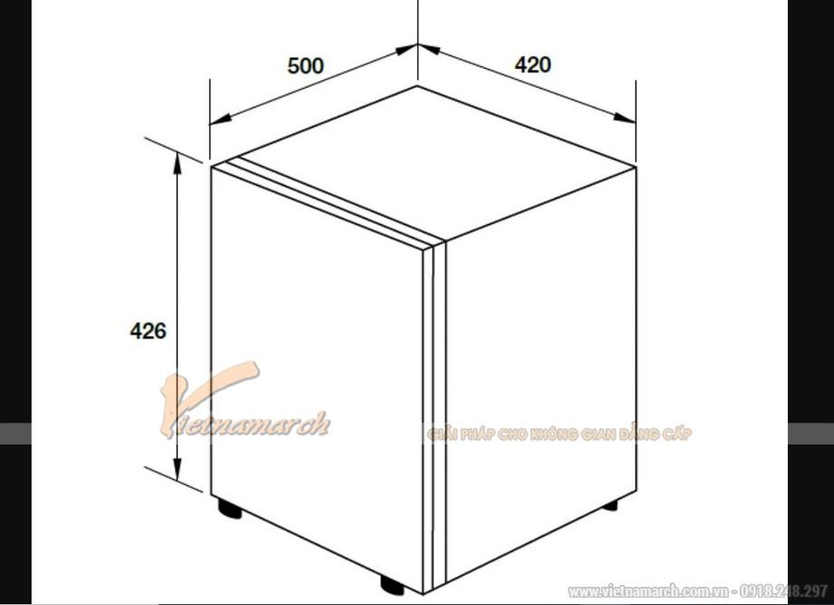Kích thước tủ lạnh Hafele mini cửa đen HF-M42S, 42 lít