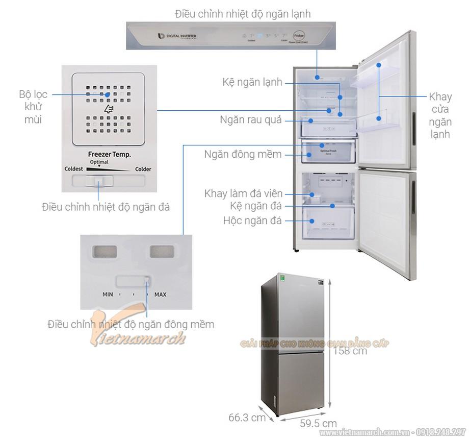 Kích thước tủ lạnh Samsung 2 cánh 280 lít RB27N4010S8/SV