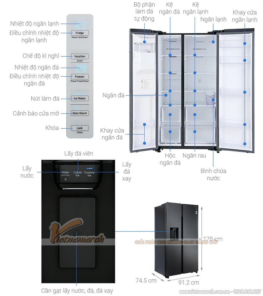 Kích thước tủ lạnh Samsung Side By Side 617 lít RS64R5301B4/SV