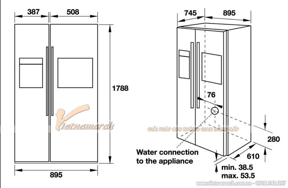 Kích thước tủ lạnh Hafele Side By Side HF-SBSIC 534.14.250, 675 lít