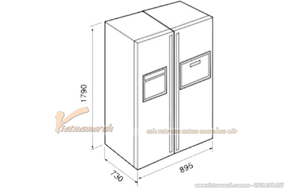 Kích thước tủ lạnh Side By Side Teka NFD 680 Black 604 lít