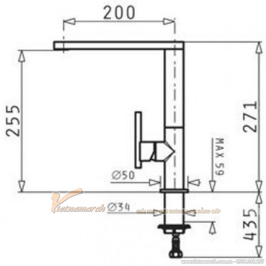 Kích thước vòi rửa bát Bosch HMH.090911701 - Grazia nóng lạnh,đầu vòi vuông