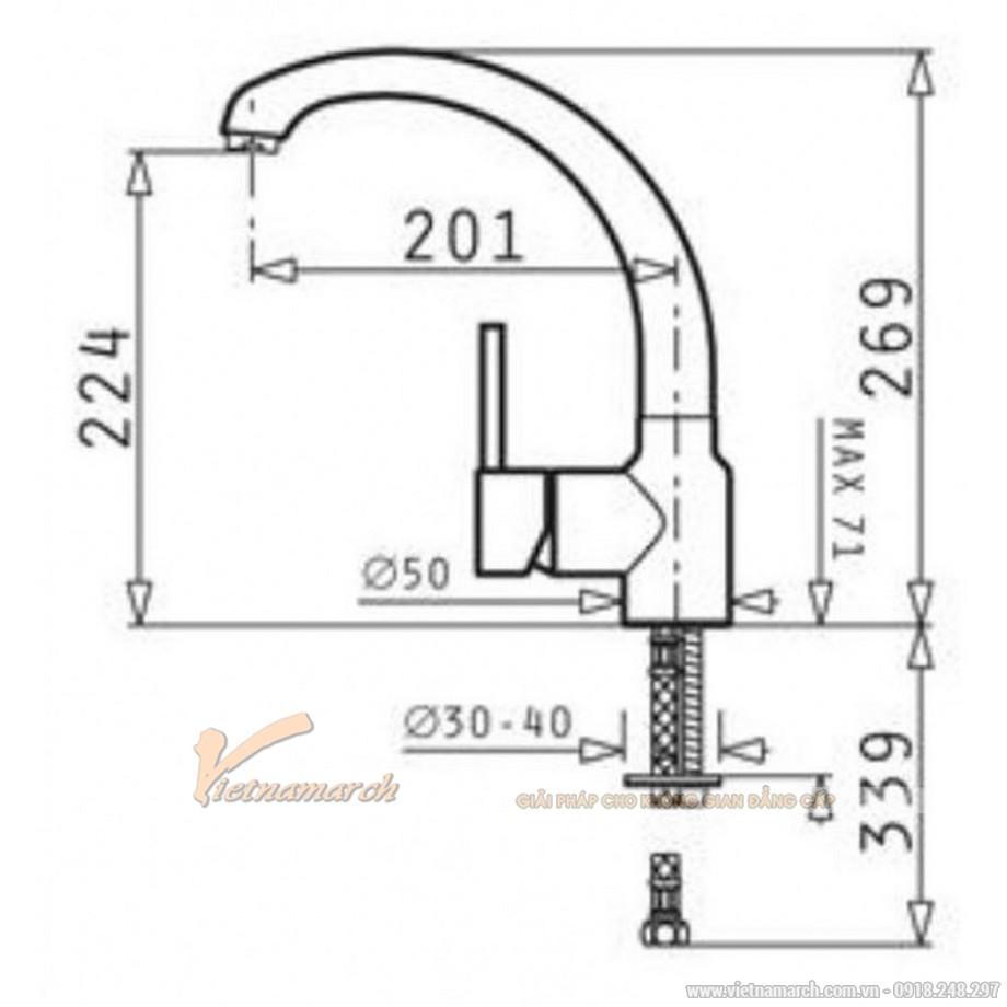 Kích thước vòi rửa bát Bosch HMH.095151001- Armonica nóng lạnh, dạng cong