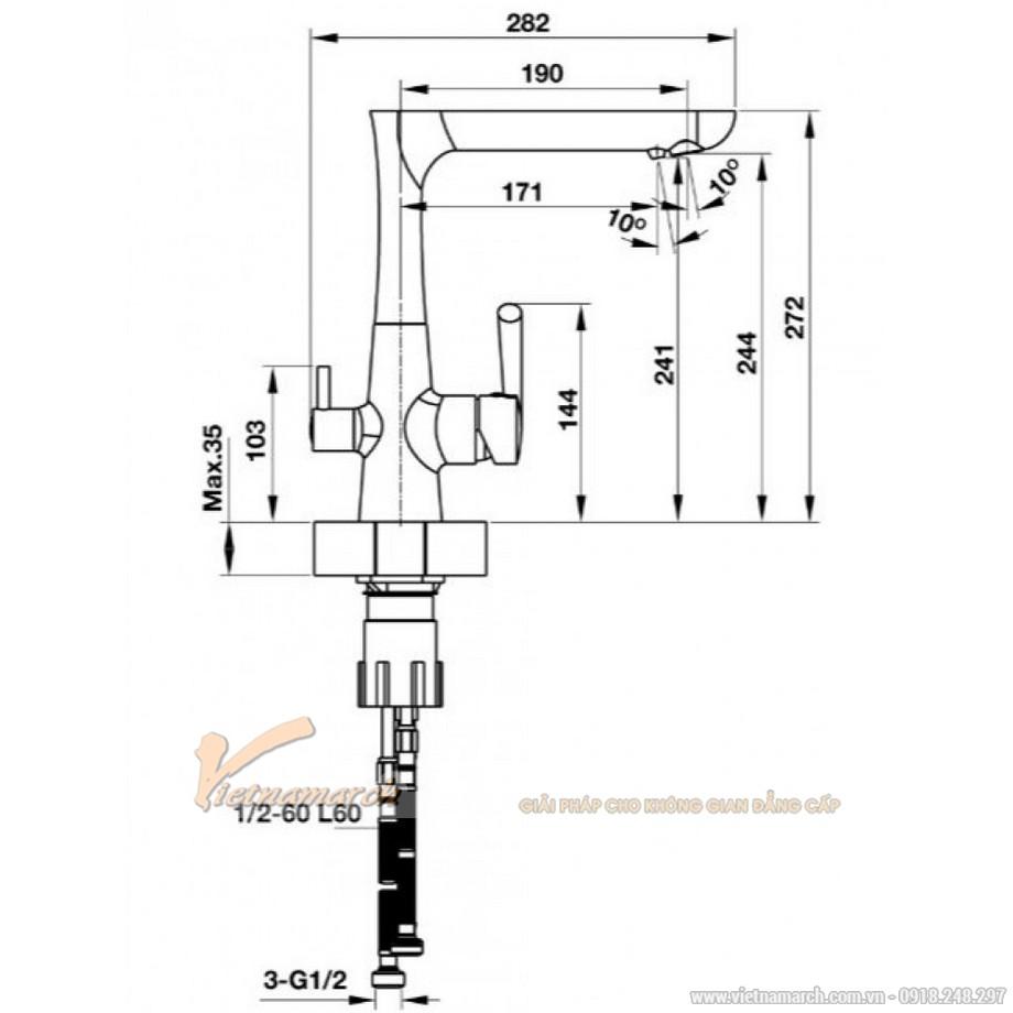 Kích thước vòi rửa bát Hafele HT-C244 570.51.070 nóng lạnh, kiểu 2 cần gạt