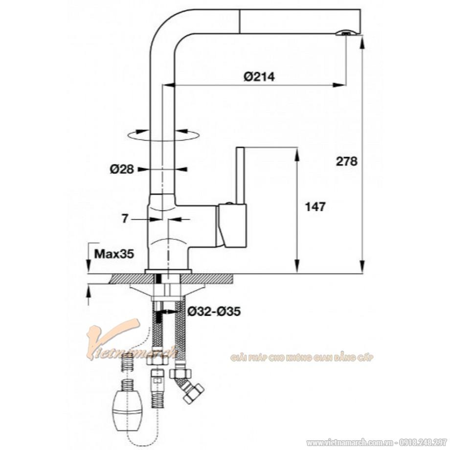 Kích thước vòi rửa bát Hafele HT-C280 570.51.280 nóng lạnh