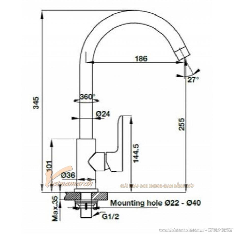 Kích thước vòi rửa bát Hafele HT-C255 570.52.281 lạnh, dạng cong
