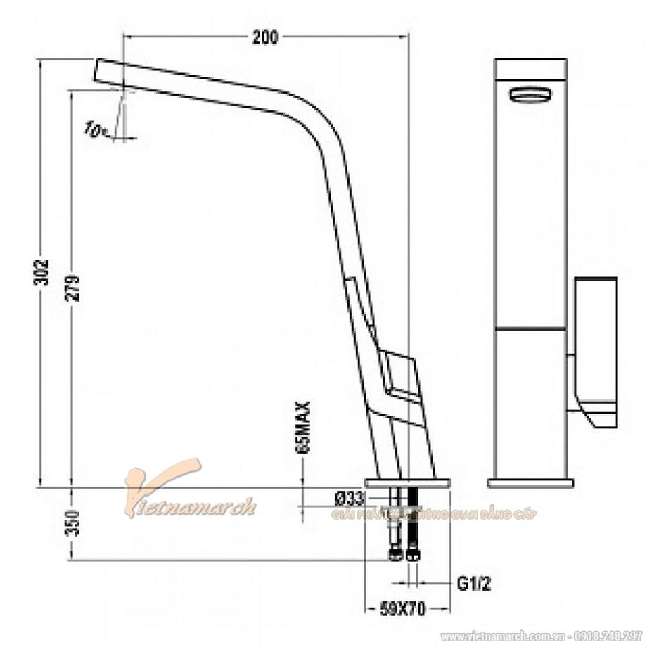 Kích thước vòi rửa bát Teka Icon 339150210 nóng lạnh, cổ vòi dạng phẳng
