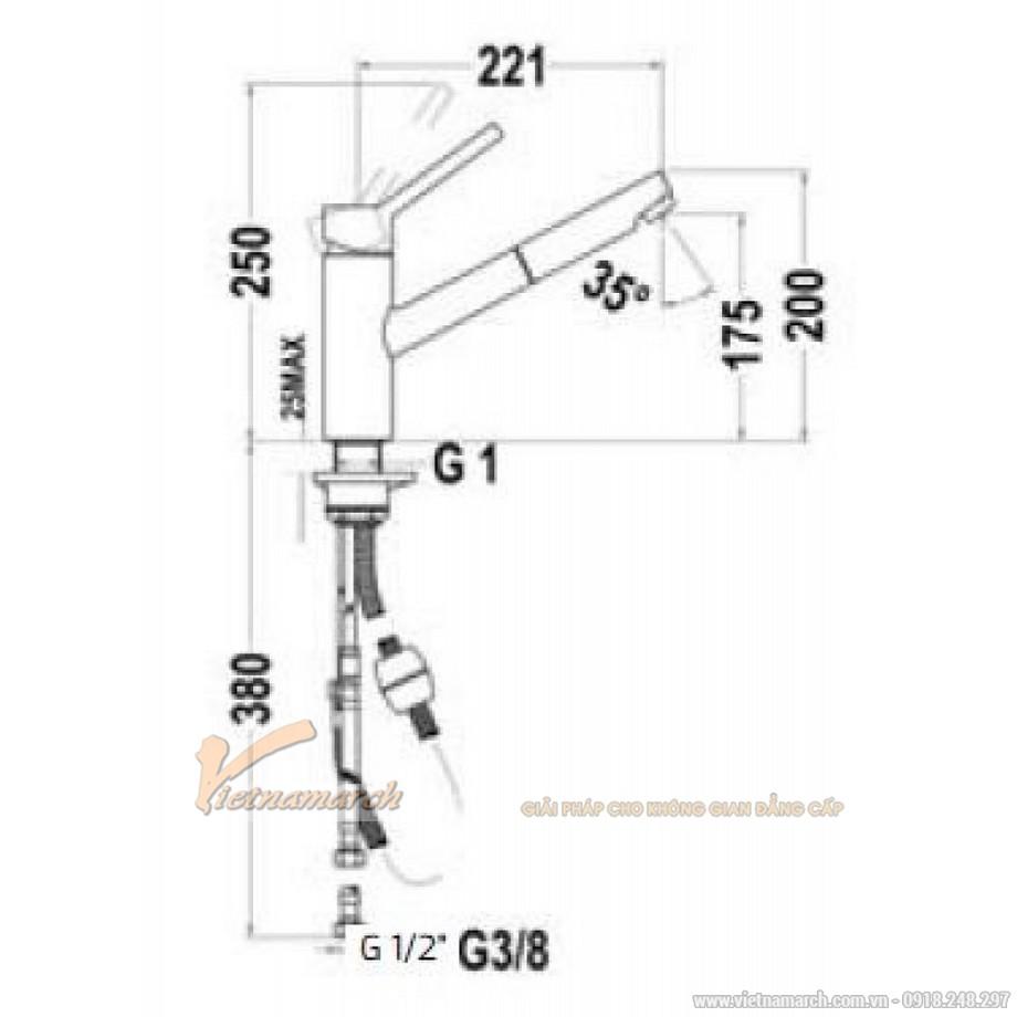 Kích thước vòirửa bát Teka VTK 978 249780210 nóng lạnh, thẳng