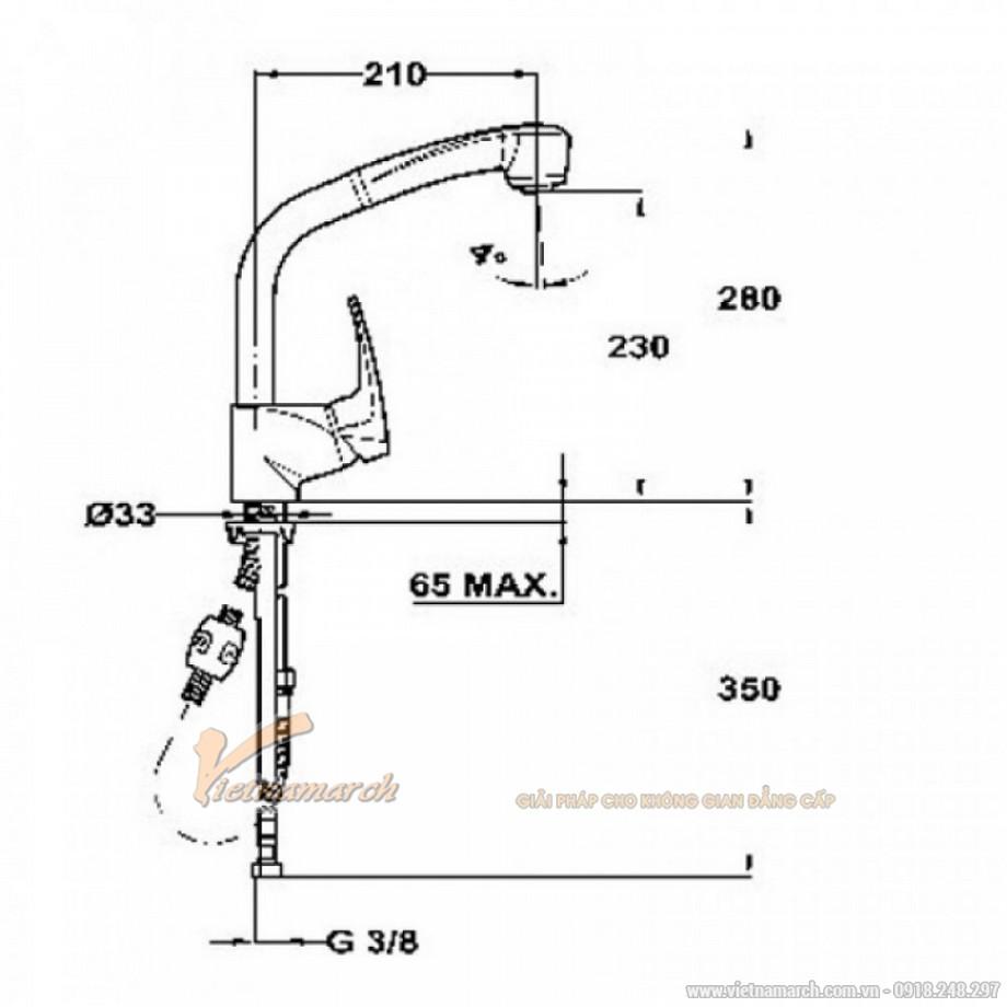 Kích thước vòi rửa bát Teka MB2 Pull Out High 40931802 vòi xoay, có thể tăng giảm vòi phun