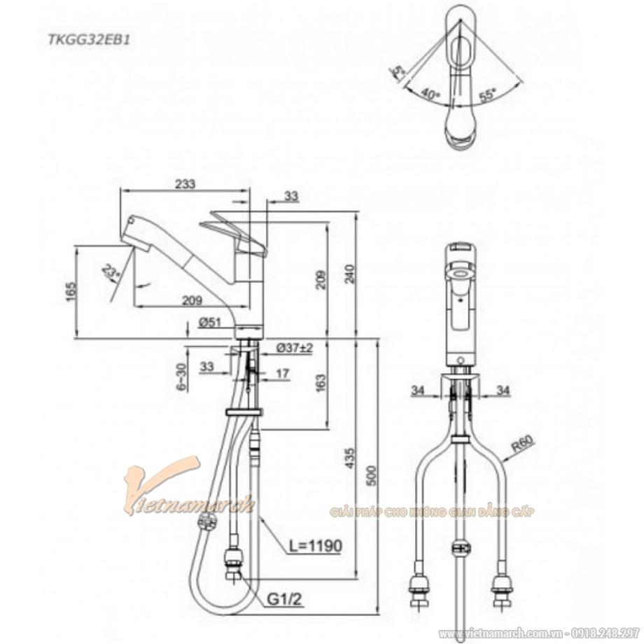 Kích thước vòirửa bát TOTO TKGG32EB1 nóng lạnh, xoayđiều chỉnhởđầu vòi