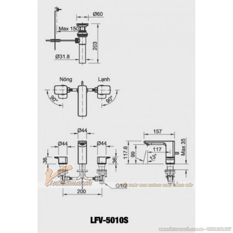 Kích thước vòi rửa mặt Inax LFV-5010S van nóng lạnh riêng 3 lỗ