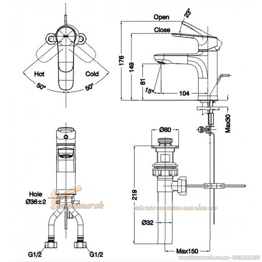 Kích thước vòi rửa mặtInax LFV-1402S Nóng Lạnh thân tròn