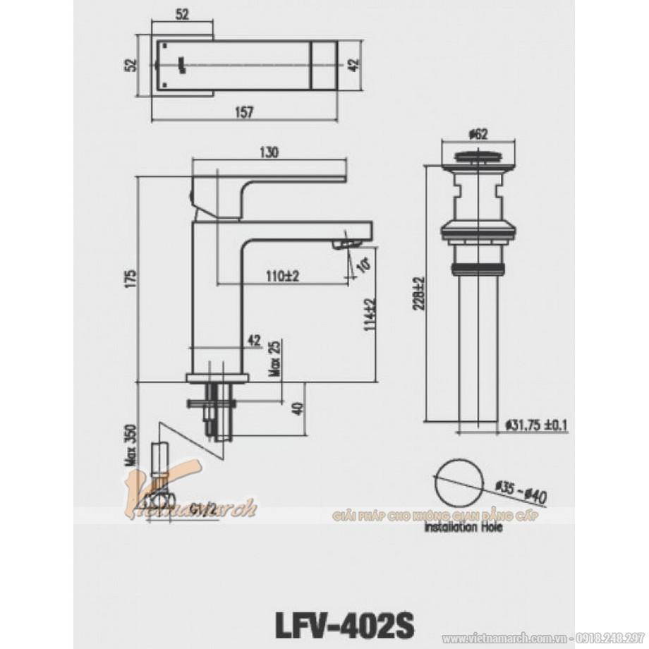 Kích thước vòi rửa mặt Inax LFV-402S Nóng Lạnh thân vuông