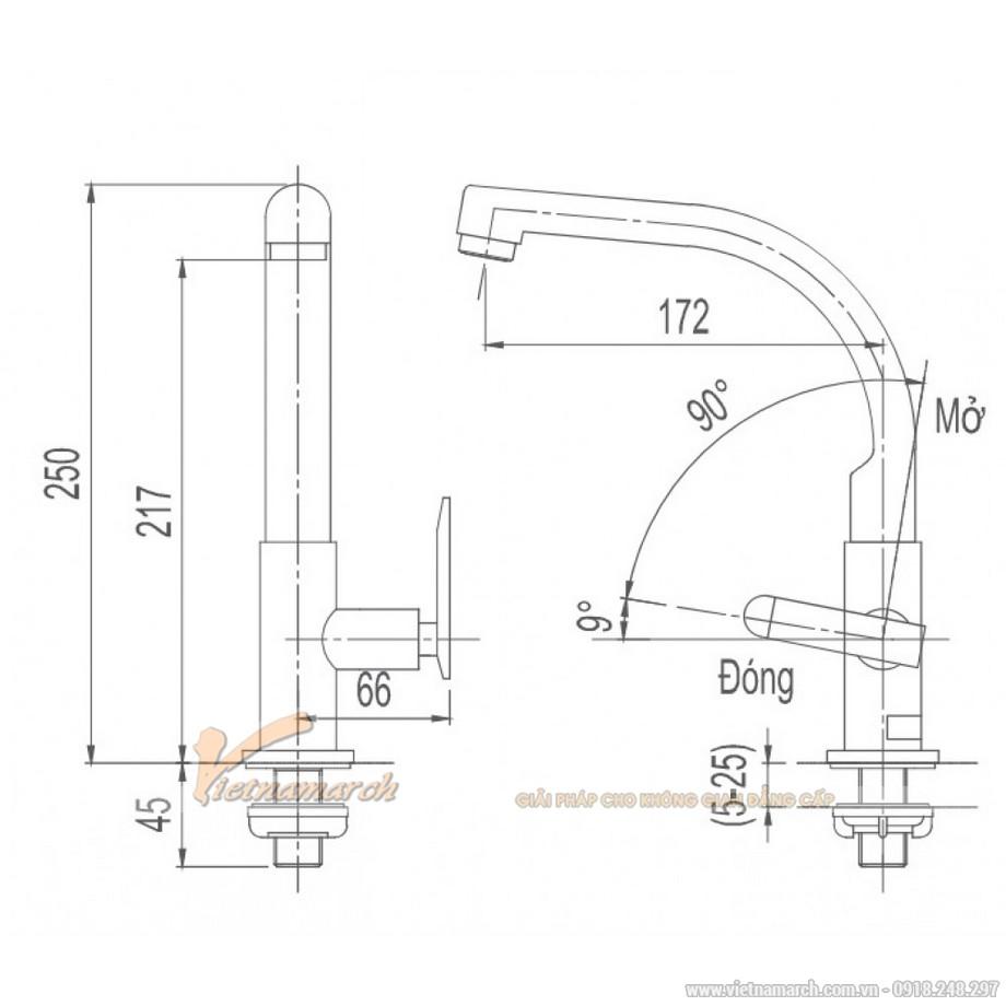 Kích thước vòi rửa bát Inax lạnh, thẳngSFV-29