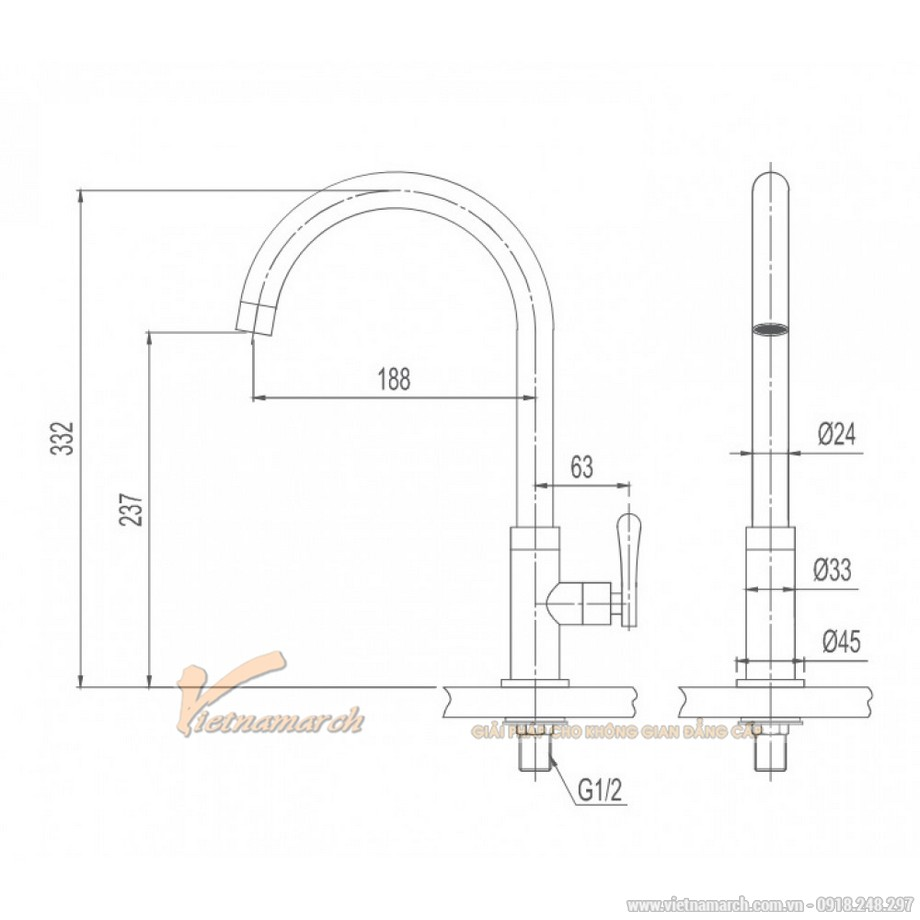 Kích thước vòi rửa bát Inax lạnh, congInax SFV-31