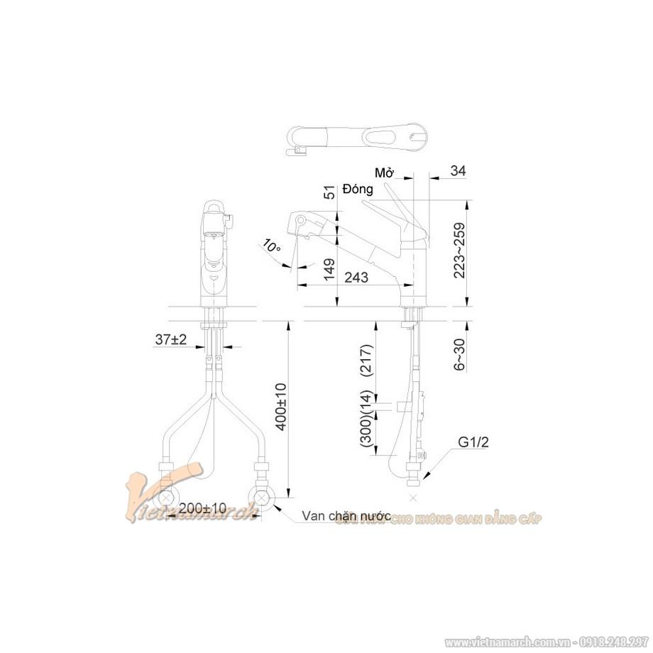 Kích thước vòi rửa bát Inax nóng lạnh, thẳng JF-AB466SYX(JW)