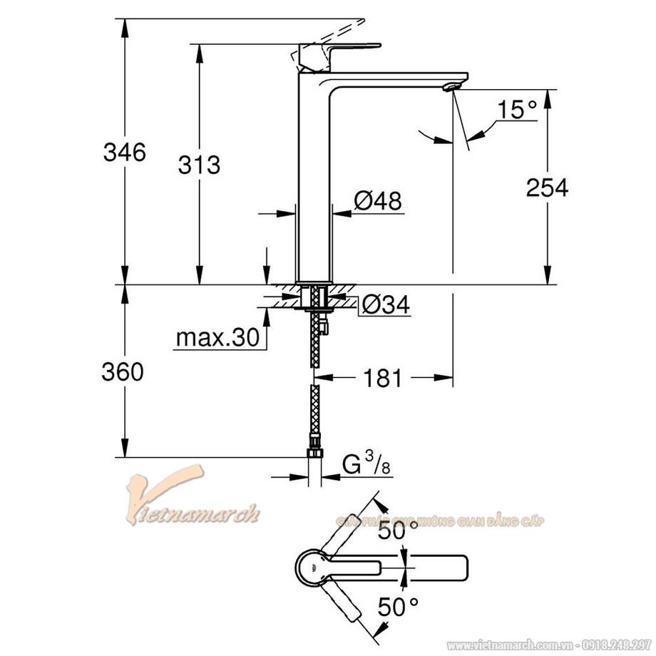 Kích thước vòi rửa mặt Grohe Lineare New 23405001 nóng lạnh cổ cao