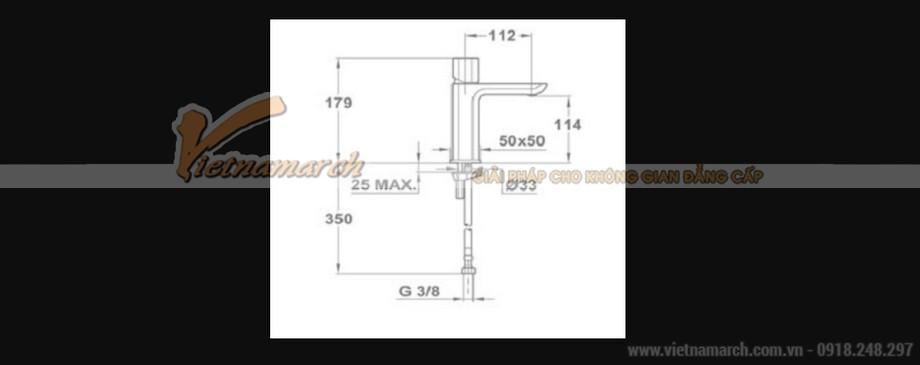 Kích thước vòi rửa mặt Teka Formentera thân vuông