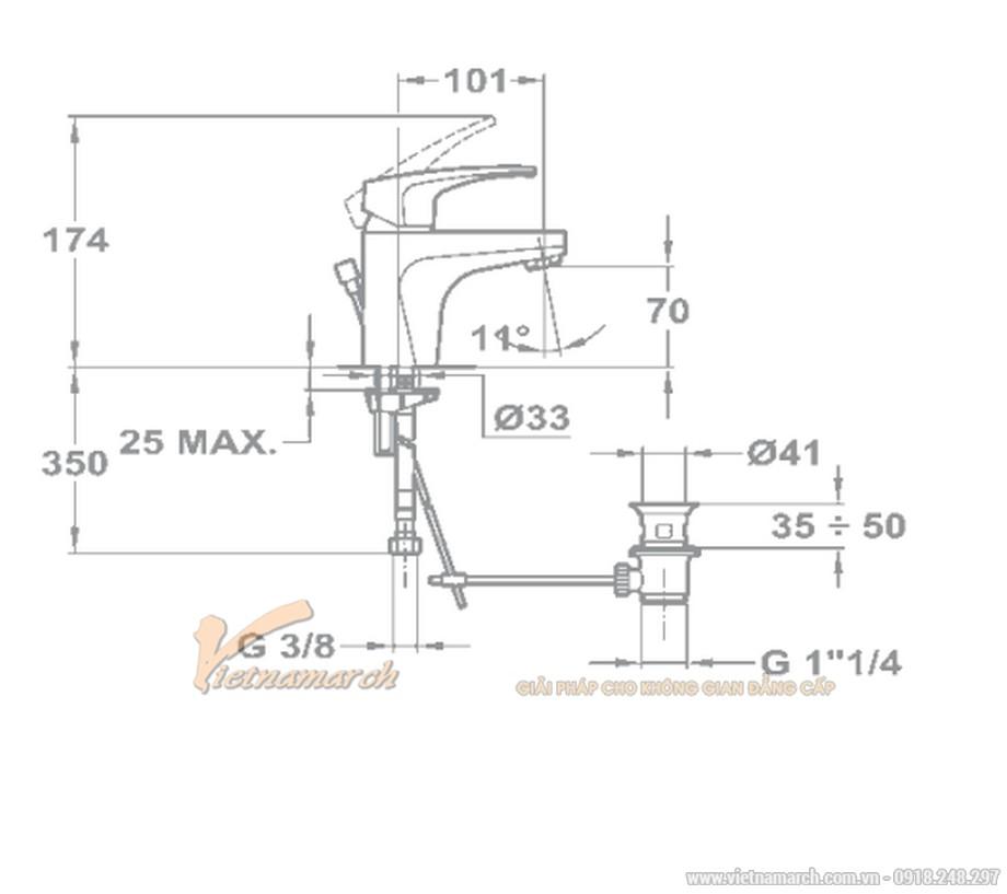 Kích thước vòi rửa mặt Teka MB2 cổ thấp