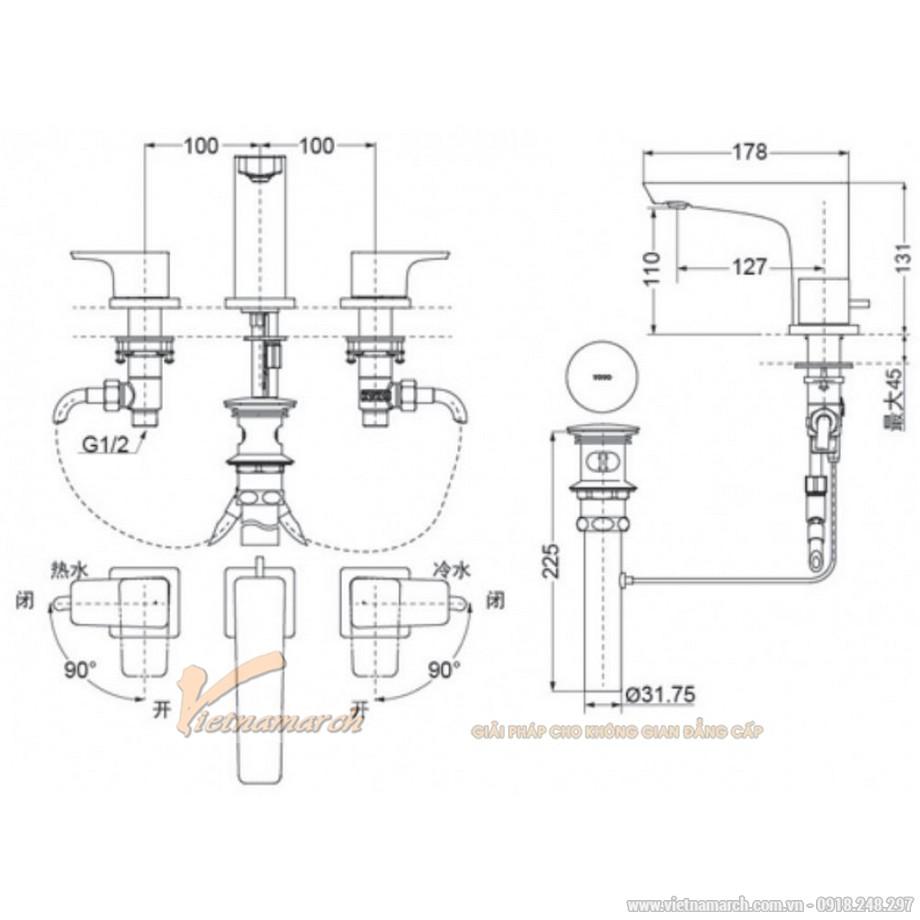 Kích thước vòi rửa mặt TOTO TLG07201B 3 lỗ